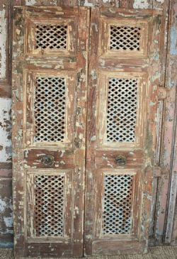 Antique Jali Doors with faded distressed paint tones, <b>SOLD<b>